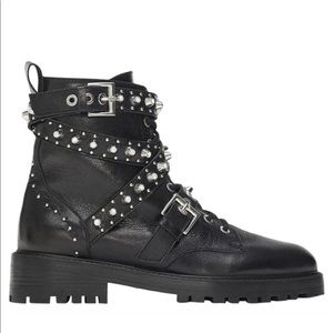 Zara Black Leather Ankle Jewel Embellished Boots